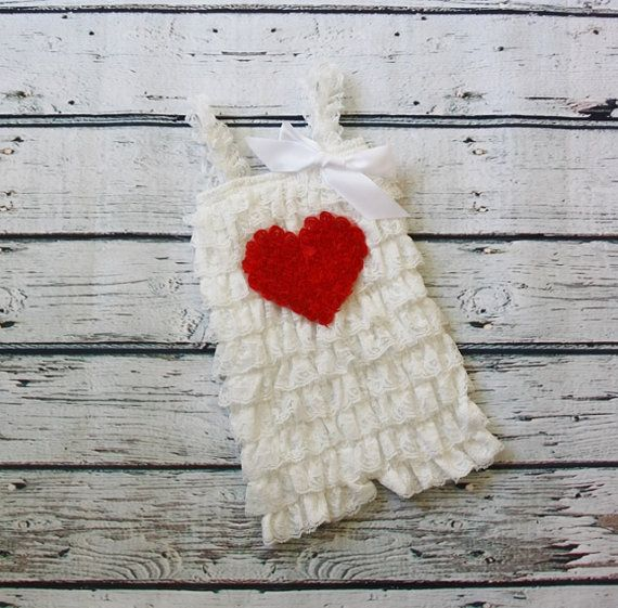 White Petti Romper with Heart-Petti Romper with by jamiepowell