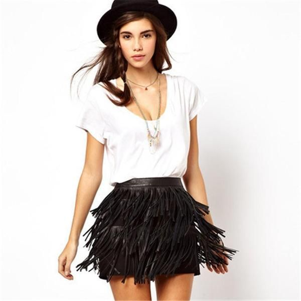 Sexy A-line Retro Faux Suede Leather Short Skirts