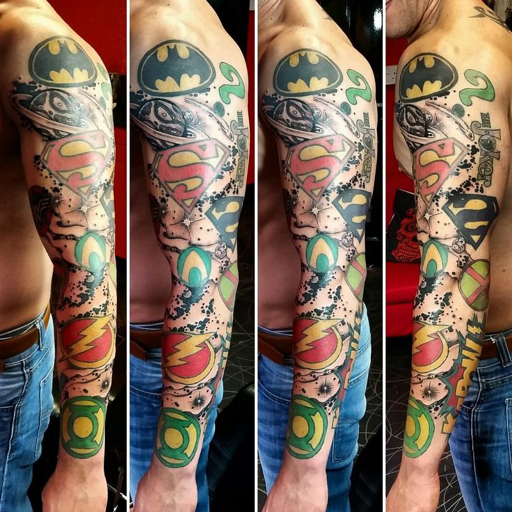 dc comics tattoo sleeve - Google Search