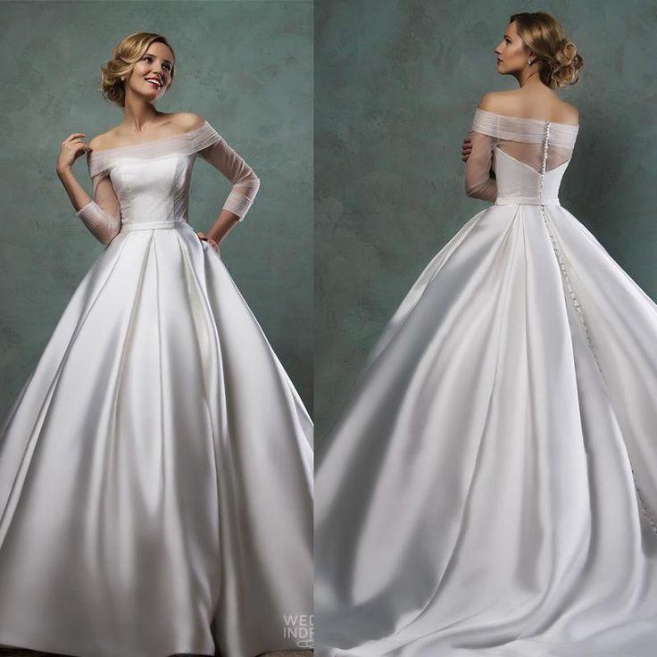 Simple Design Scoop Neck Long Sleeve Long A Line Tulle: Elegant Amelia Sposa Wedding Dresses 2015 Off Shoulder