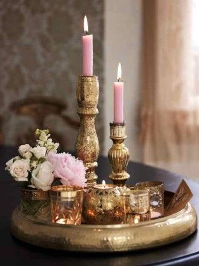 Lavender/pink candles and gold candles holder's. . Ring in Pantone! #newyear's #2014party #newyear'stables