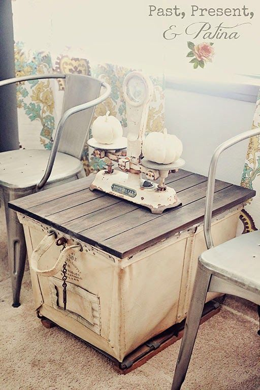 Vintage Inspiration Party - #159 - Knick of Time - vintage laundry cart made into industrial table