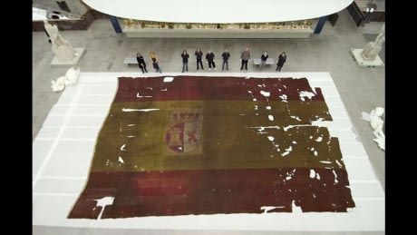 Spanish flag used on a Ship of the Line in the battle of Trafalgar.