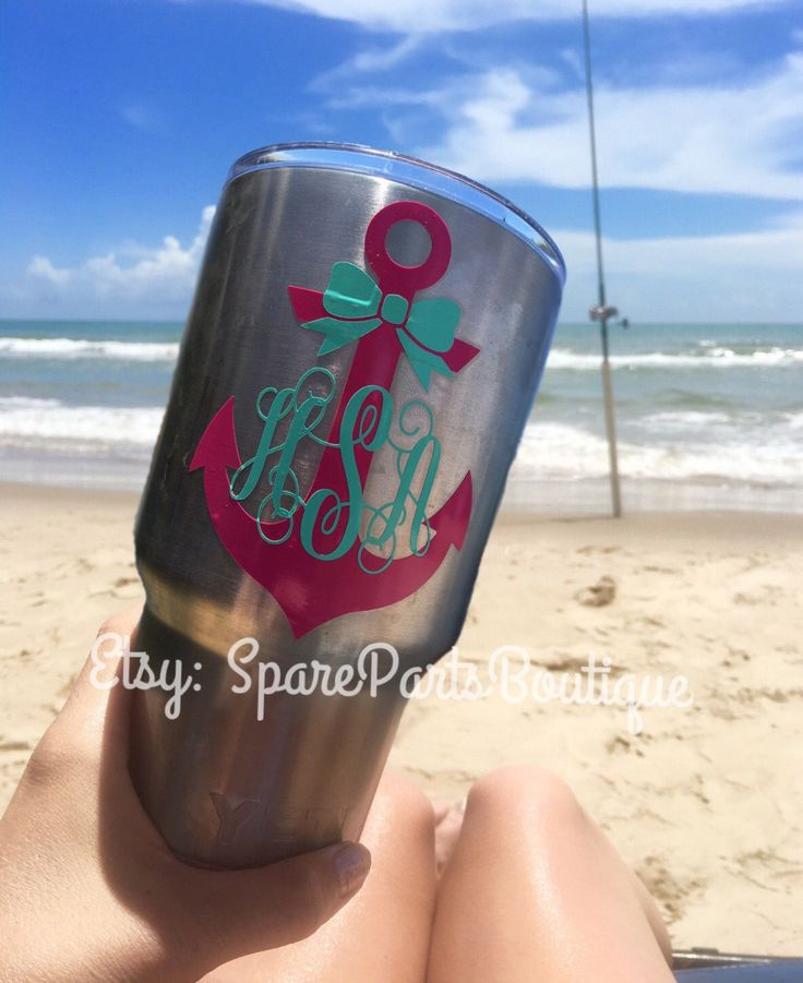 Monogram anchor bow vinyl decal sticker for yeti cups free shipping