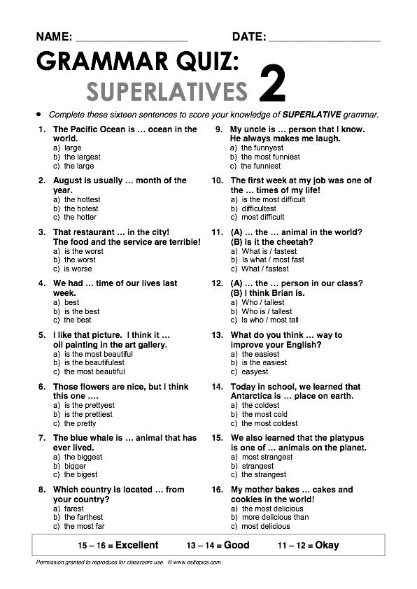 Superlatives2 Grammar Quiz - Repinned by Chesapeake College Adult Ed. We offer free classes on the Eastern Shore of MD to help you earn your GED - H.S. Diploma or Learn English (ESL) . For GED classes contact Danielle Thomas 410-829-6043 dthomas@chesapeake.edu For ESL classes contact Karen Luceti - 410-443-1163 Kluceti@chesapeake.edu . www.chesapeake.edu