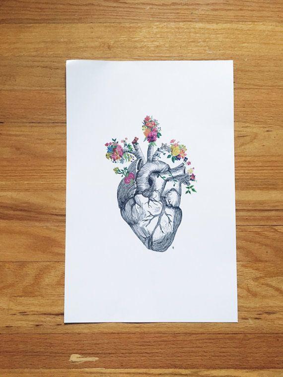 Anatomie cardiaque  fleurs par eatbrunchdaily sur Etsy