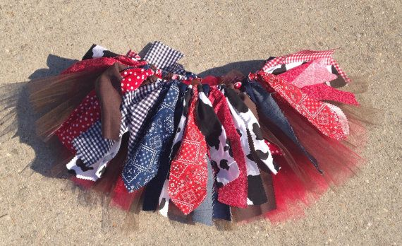 Navy and Red Cowgirl tutu cowgirl skirt red bandana by LilNicks
