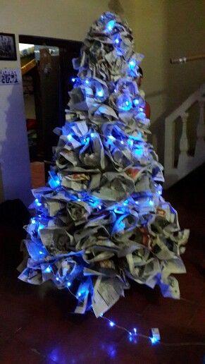 Newspaper chrismast tree