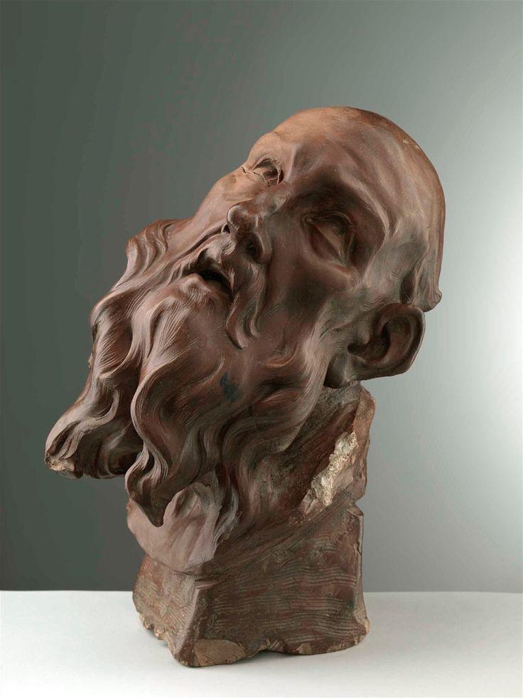 RENE'- MICHEL (a.k.a. Michel-Ange) SLODTZ  (Paris 1705 - 1764)  Old-man head, Ca.1735-37   Terracotta, cm 32x18x26
