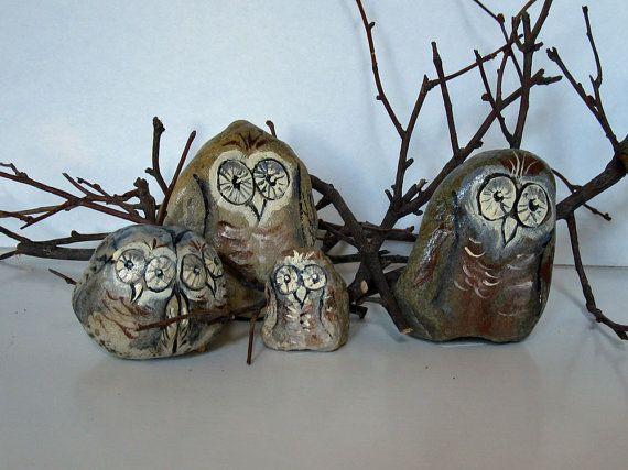 Owl Family Hand Painted Rocks by RuralMemories on Etsy, $12.00 #owlfamily #rockowls