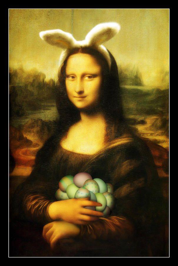 Mona Lisa Easter Bunny Painting - Mona Lisa Easter Bunny Fine Art Print
