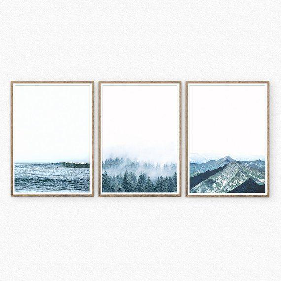 Set Of 3 Nature Prints Minimalist Landscape Wall Art Set Digital