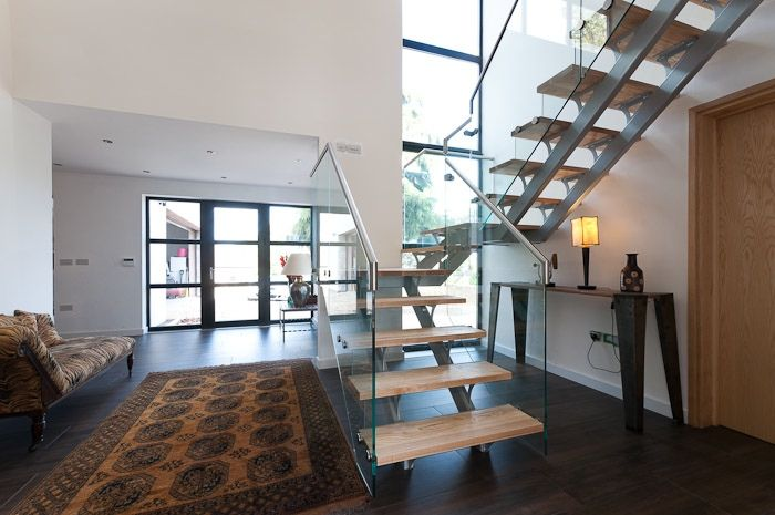 Ash and Glass Balustrade Feature Staircase