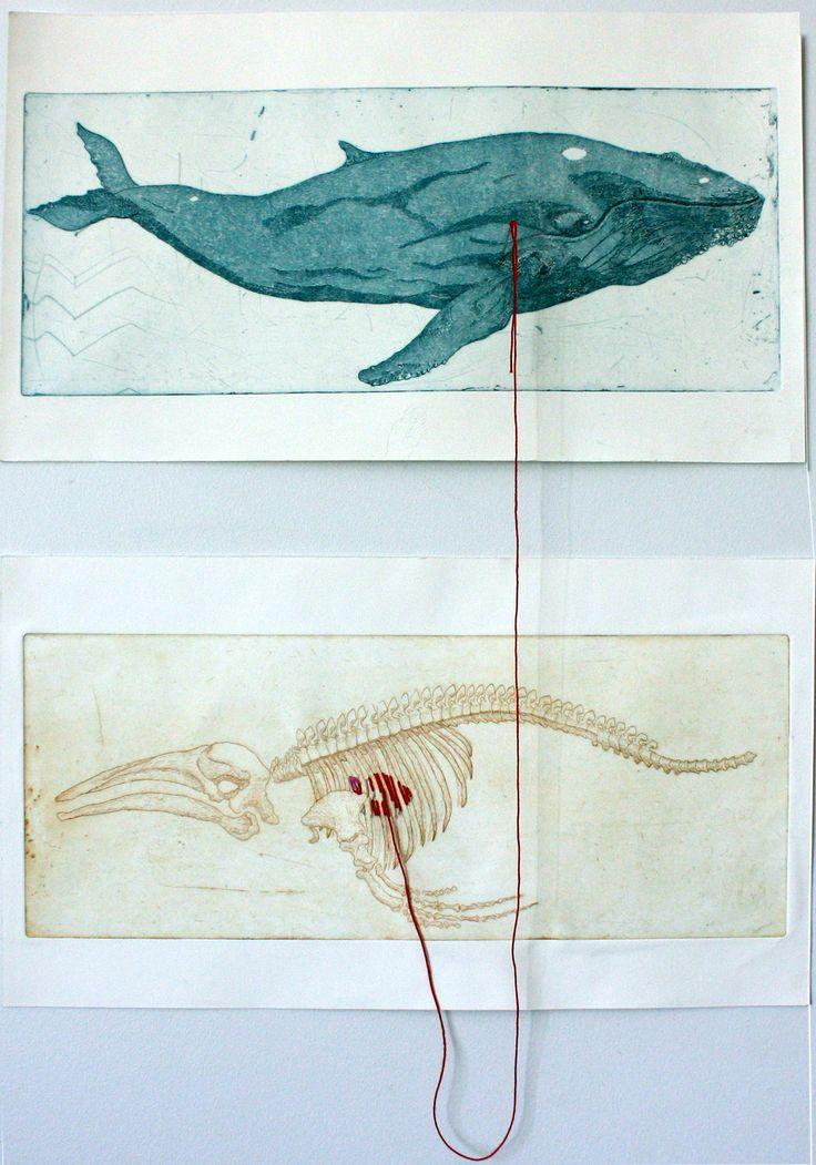 Seppo Alanissi - Got One, 2013, etching, needle & thread