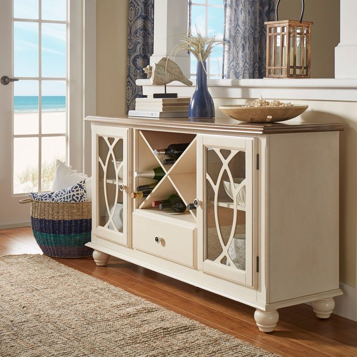 White Kitchen Buffet: TRIBECCA HOME Shayne Country Antique White Buffet