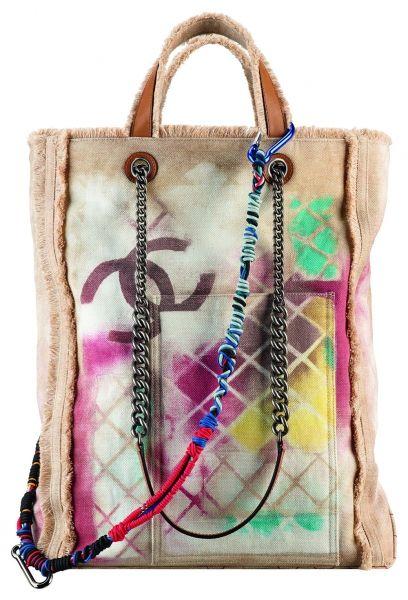 A92317-Printed toile and leather tote bag_Cabas en cuir et toile imprimée