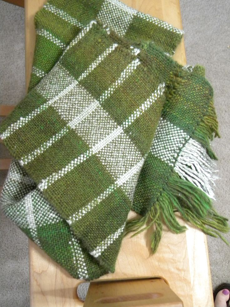 Wool and bamboo scarf woven on my rigid heddle loom.