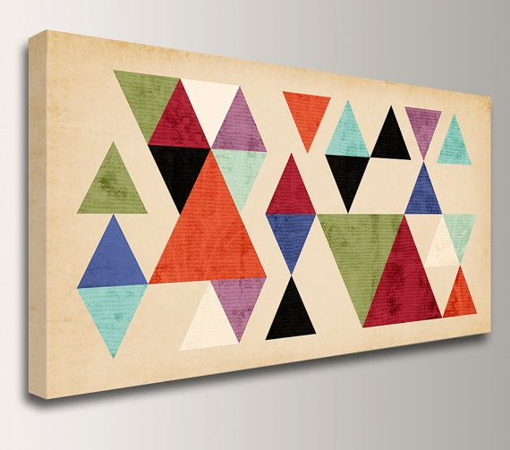 """Mid Century Geometric Art - Canvas Print Panorama - Multi Colored Triangles on Tan Background - Vintage Modern Wall Decor  - """"Tangent"""""""