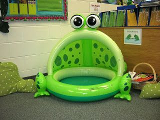 What a fun frog decoration to have in the classroom! Students would love reading here!!