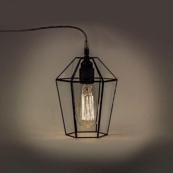 Industrial terrarium lamp. Clear glass simple lamp. door WPworkshop
