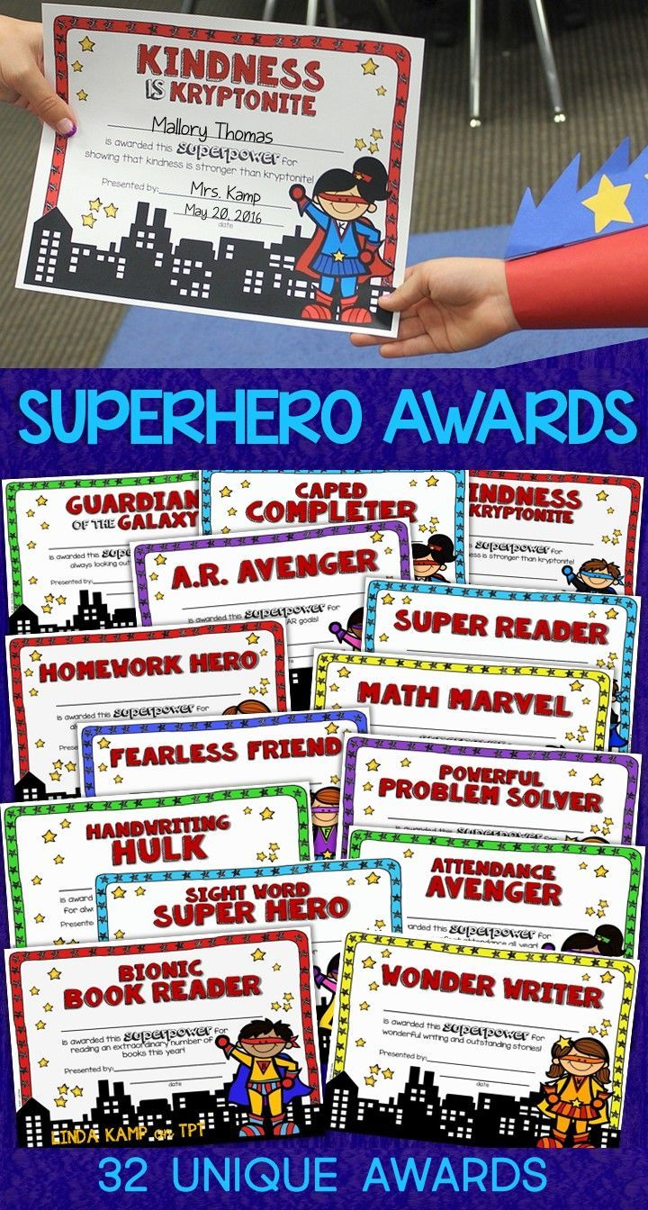 Need something a little different for your last week of school? These 32 unique Superhero student awards cover a broad range of subjects, abilities and character traits with fun, unique superlatives. Use them to acknowledge students' learning as well as kindness, friendship, perseverance and respect. 1st, 2nd, 3rd, and 4th grade kids love them! Such a fun addition to your end of the year activities or your last week of school! Give your students a Superhero send-off they'll never forget!