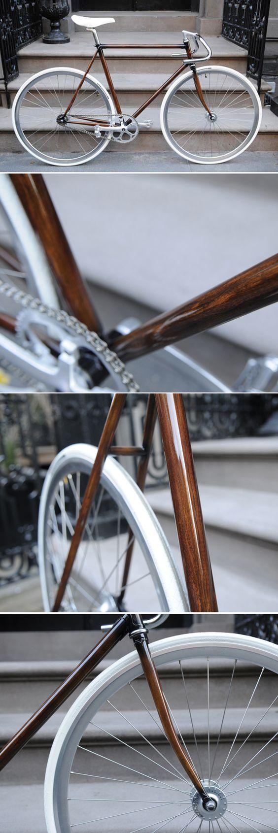 The most beautiful wooden bike....ein wunderschönes Single Speed Bike,...Radial gespeichtes Vorderrad mit Hochflanchnaben, V-Felgen und Weißwandreifen, perfekt verarbeitet.: