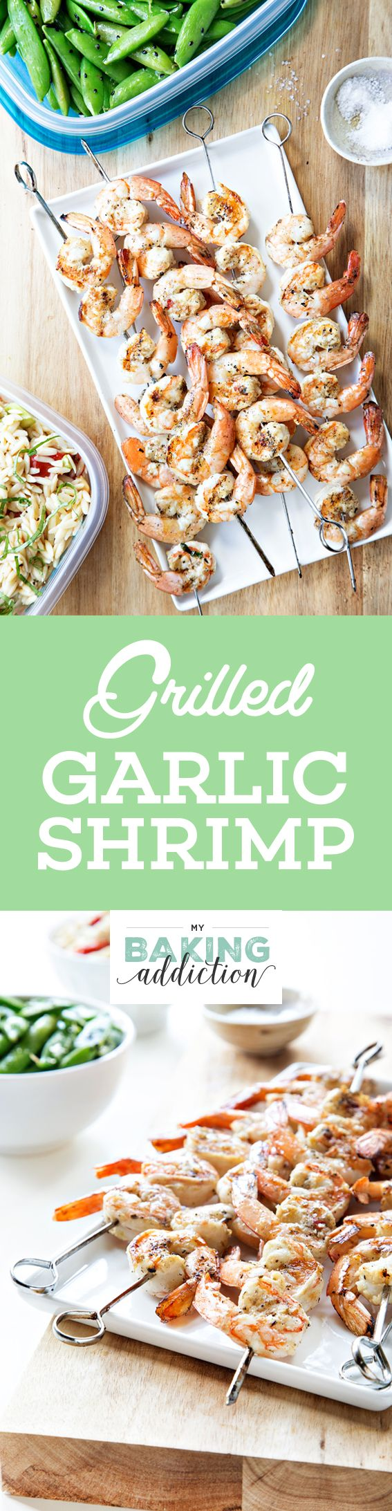 Grilled Garlic Basil Shrimp has a simple mariande of garlic, herbs, olive oil, and white wine. So easy!