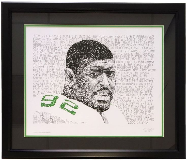 Featured is a Reggie White framed 16x20 Word Art print. This photo has been professionally framed and matted and is approximately 22x27. This photo is made up by Reggie White's sack totals throughout his playing career. White was selected in the first round of the 1984 Supplemental Draft, and then played for the NFL's Philadelphia Eagles, Green Bay Packers, and Carolina Panthers, becoming one of the most awarded players in NFL history. The two-time NFL Defensive Player of the Year, 13...
