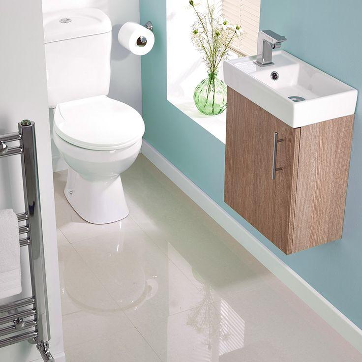 Oak Minimalist Wall Hung Cloakroom Suite - Image 1