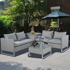 Goplus 4PCS Gray Rattan Wicker Patio Sofa Cushion Seat Set Furniture Lawn - Kmart