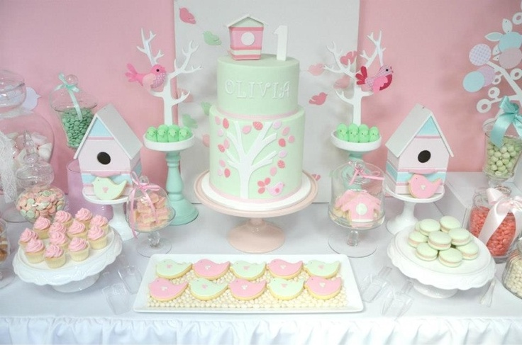 Pretty pink and green bird themed table