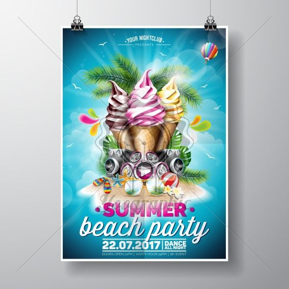 Vector Summer Beach Party Flyer Design with ice creams and music elements on ocean landscape background. Typographic design. - Royalty Free Vector Illustration
