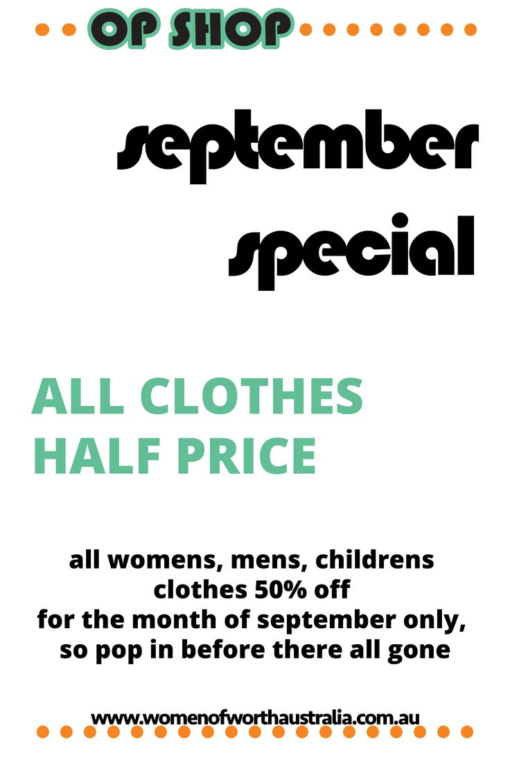 50% off all clothes hurry in only for September