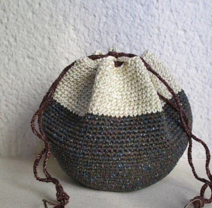 Boho~Chic Crochet Drawstring Handbag: Sweet Inspiration!