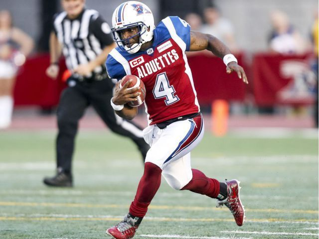 Week 3 - July 6 2017 - BC.23 - MTL.16 - Montreal Alouettes quarterback Darian Durant runs for a long gain during first half of Canadian Football League game against the British Columbia Lions in Montreal Thursday July 6, 2017