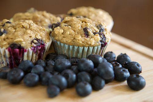 Oatmeal Blueberry Applesauce Muffins
