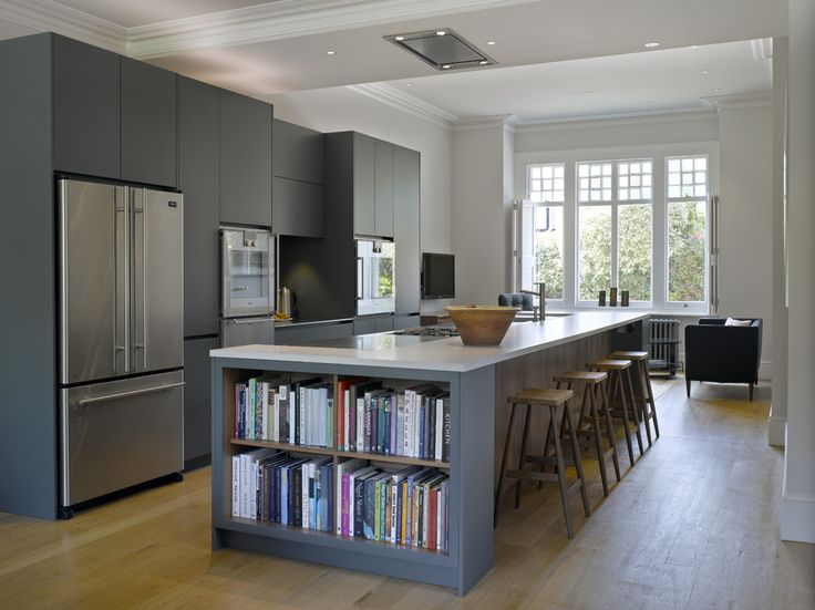 Book case to side of kitchen island like this beside window seat