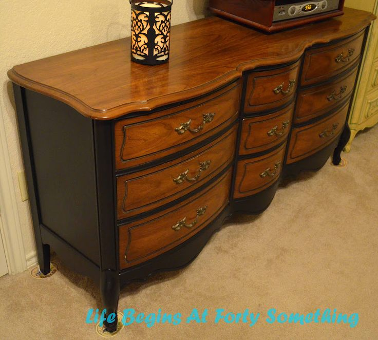 Life Begins at Forty Something: Two Tone French Dresser Makeover - Another Chalk Paint Project