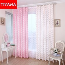 small fresh window curtains for living room bedroom lovely blackout curtain decortive voile cortinas pink blue white wp122#30(China (Mainland))