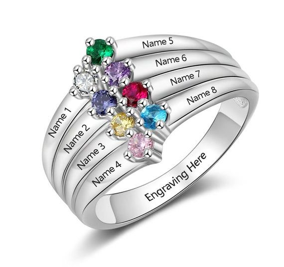 Customized Family Ring Personalized 3 Name Ring Personalized Jewelry 3 Birthstone Ring for Mom Silver Named Birthstone Triple Ring