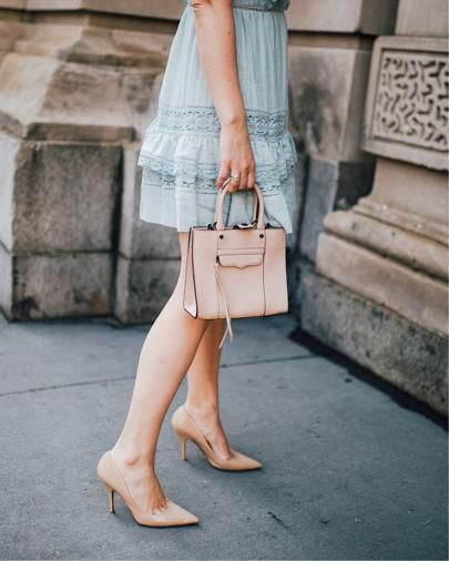 lace dress -- blush and blooms