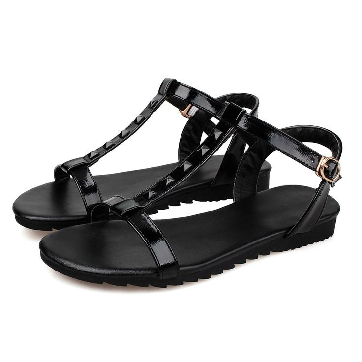 New Summer Women's Open Toe Sweet Punk Style Patent Leather Rivet Ankle Strap Black Flat Sandals 10B(M)US. High Quality Patent Leather. Flat Durable Antiskid Oxfords Sole. New Korean Fashion Dating Dress Sandals. Casual fashion Plus Size Strap Sandals. Comfortable Daliy Life, Work,Princess Dress Sandals.