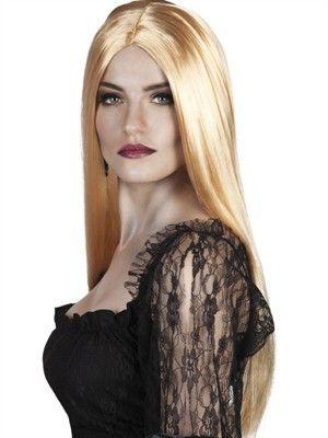 Blond lang paryk glat hår - www.BlikfangsKostumer.dk