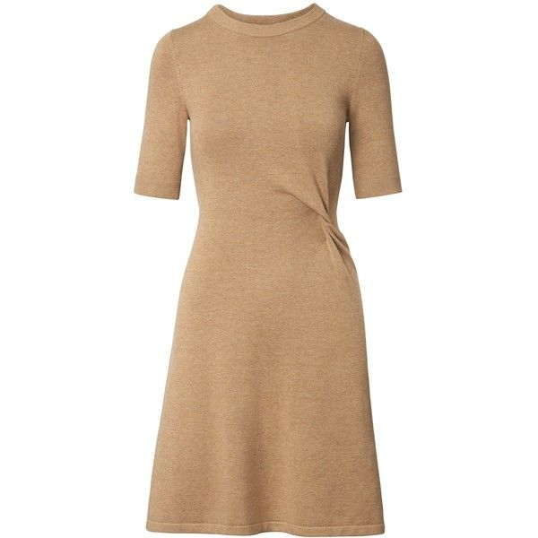 Knotted Fit-and-Flare Sweater Dress ($138) ❤ liked on Polyvore featuring dresses, sweater dress, knot dresses, fit-and-flare dress, beige dress and fit flare dress