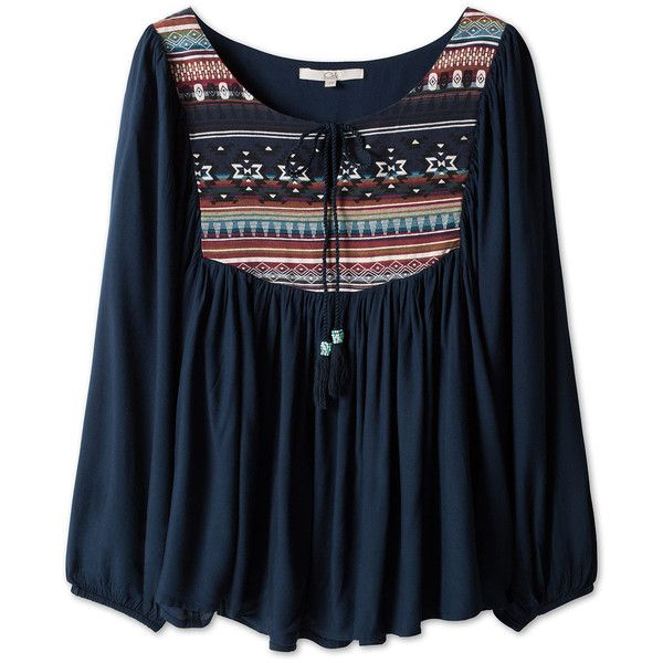 Blusa bohemia ($16) ❤ liked on Polyvore featuring tops, blouses, shirts, long sleeves, blue top, blue blouse, shirts & tops, shirts & blouses ve blue shirt