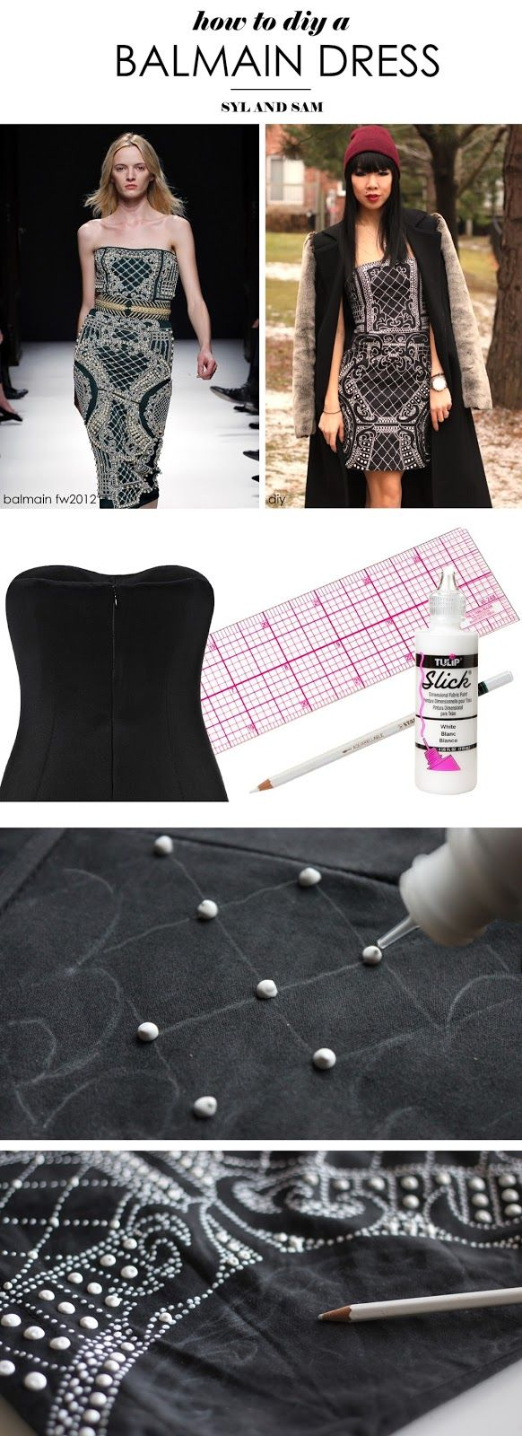 Missed out on Balmain x H&M? If you've got the patience, try out this tutorial for a DIY Balmain Beaded Dress with dimensional fabric paint. #hmbalmaination