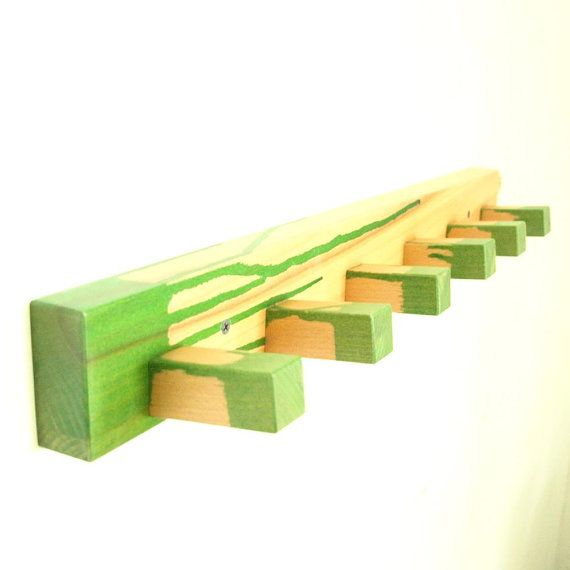 Wood coat rack  green by MustHaveRo on Etsy