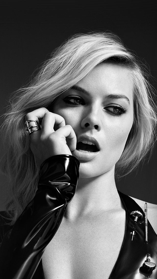 Margot Robbie Bw Photo Celebrity Girl #iPhone #5s #wallpaper