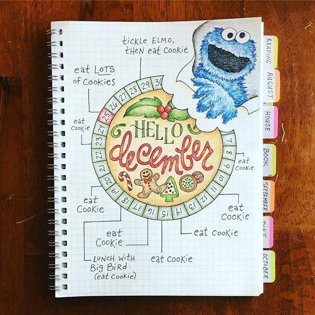 @jtraftonart this is brilliant #mewantcookie #Repost @jtraftonart ・・・ Cookie Monster's Bullet Journal ........ #bulletjournal #bujo #bujocommunity #planneraddict #plannerlove #plannergirl #plannercommunity #plannernerd #bujojunkies #bujolove #bohoberrytribe #handlettering #handwritten #bulletjournal #showmeyourplanner #bulletjournaling #bulletjournalcommunity #bulletjournaljunkies #planwithmechallenge #calendarwheel #cookiemonster #december #christmas #showmeyourplanner #immtribe…