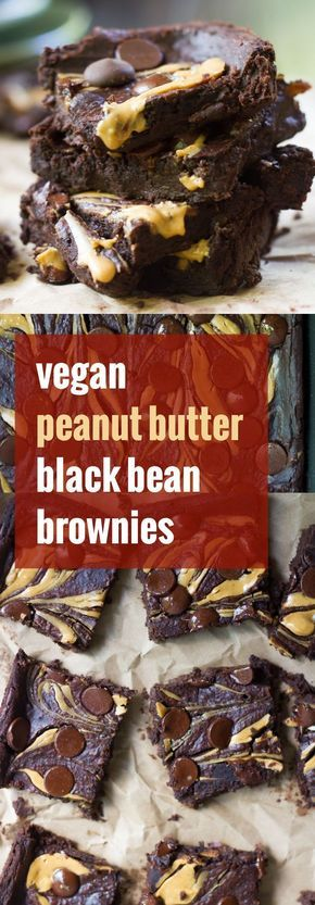 These fudgy vegan black bean brownies are rich, chocolatey, topped with a creamy peanut butter swirl, and taste like 100% pure brownie decadence (not beans!).